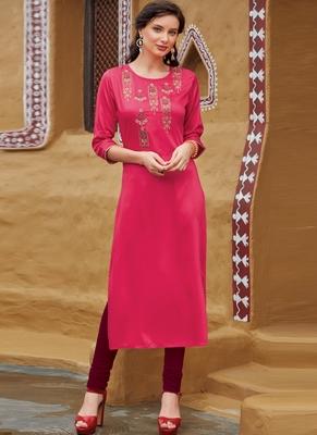 Rani Pink Rayon Embroidered Embroidered Kurtis