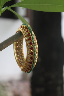 Red Green Gold Plated Polki Inspired Bangle