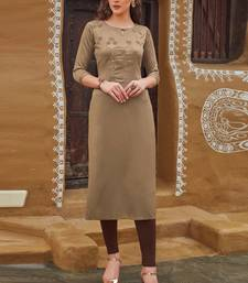 Beige Rayon Embroidered Embroidered Kurtis