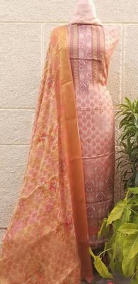 Cotton Silk Print Peach Unstitched Suit Fabric