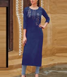 Blue Rayon Embroidered Embroidered Kurtis