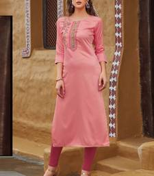 Baby Pink Rayon Embroidered Embroidered Kurtis