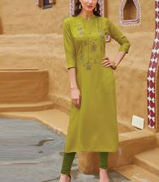 Olive Rayon Embroidered Embroidered Kurtis