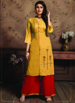 Yellow Rayon Embroidered Kurtas And Kurtis