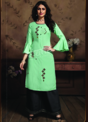 Turquoise Rayon Embroidered Kurtas And Kurtis