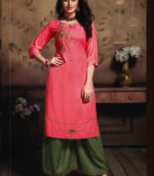 Dark Peach Rayon Embroidered Kurtas And Kurtis