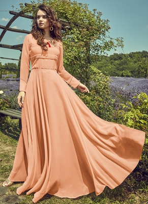 Peach Georgette Embroidered Pakistani Kurtis