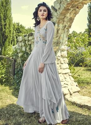 Grey Georgette Embroidered Pakistani Kurtis