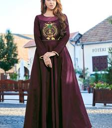 Wine Silk Embroidered Pakistani Kurtis
