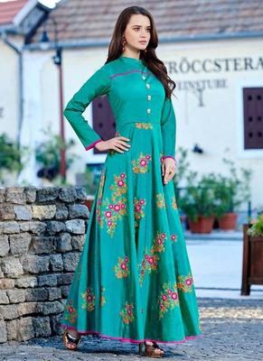 Turquoise Silk Embroidered Pakistani Kurtis