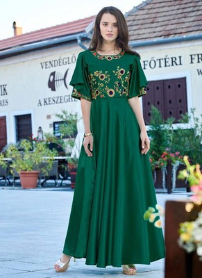 Green Silk Embroidered Pakistani Kurtis