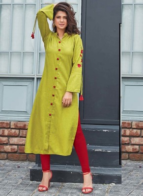 Lime Rayon Embroidered Long Kurtis