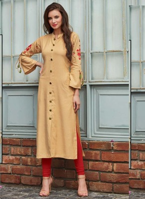 Cream Rayon Embroidered Long Kurtis