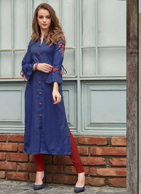 Blue Rayon Embroidered Long Kurtis