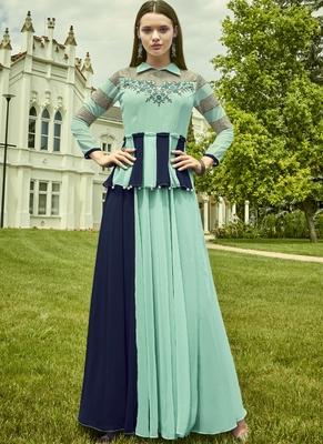 Sky Blue Georgette Embroidered Pakistani Kurtis