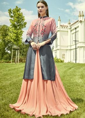 Light Peach Georgette Embroidered Pakistani Kurtis