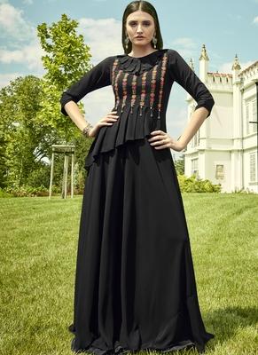 Black Georgette Embroidered Pakistani Kurtis