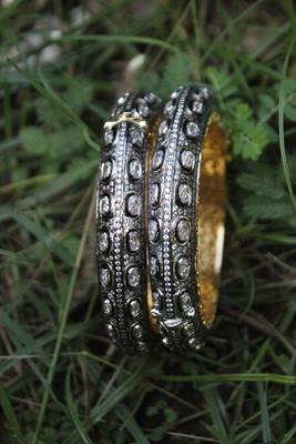 Black Silver Victorian Bangles