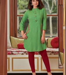 Parrot Green Rayon Embroidered Short Kurtis