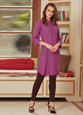 Light Violet Rayon Embroidered Short Kurtis