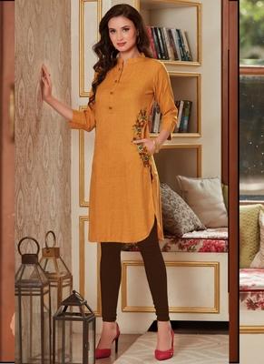 Yellow Rayon Embroidered Short Kurtis