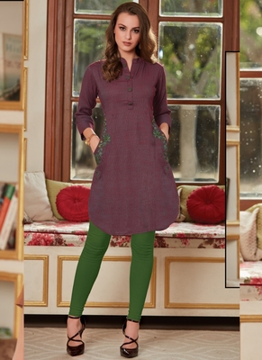 Wine Rayon Embroidered Short Kurtis