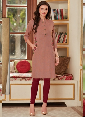 Light Brown Rayon Embroidered Short Kurtis