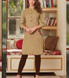 Cream Rayon Embroidered Short Kurtis