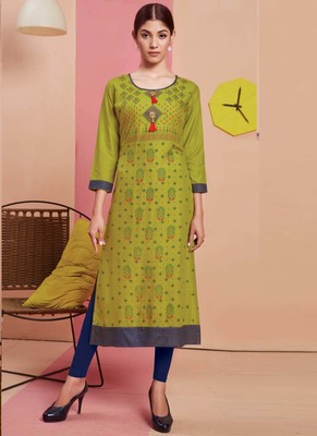 Parrot Green Rayon Printed Long Kurtis