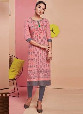 Baby Pink Rayon Printed Long Kurtis