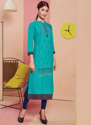 Turquoise Rayon Printed Long Kurtis