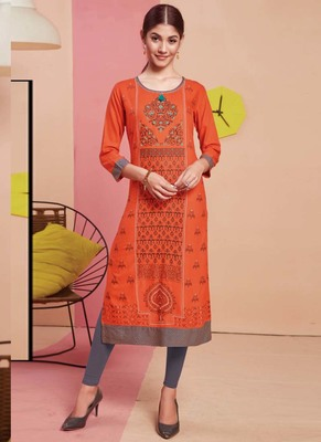 Orange Rayon Printed Long Kurtis