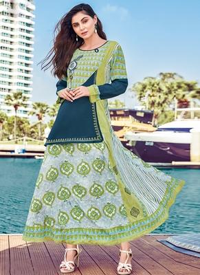 Off White Rayon Embroidered Pakistani Kurtis