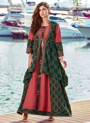 Green Rayon Embroidered Pakistani Kurtis