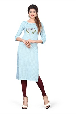 Sky-blue embroidered cotton kurtas-and-kurtis