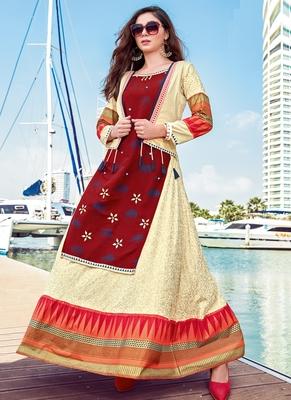 Cream Rayon Embroidered Pakistani Kurtis
