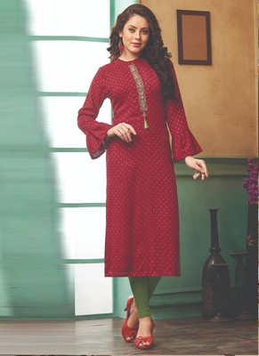 Maroon Rayon Embroidered Long Kurtis