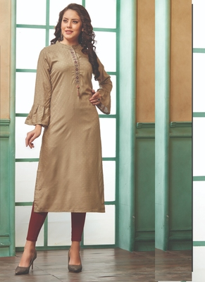 Beige Rayon Embroidered Long Kurtis