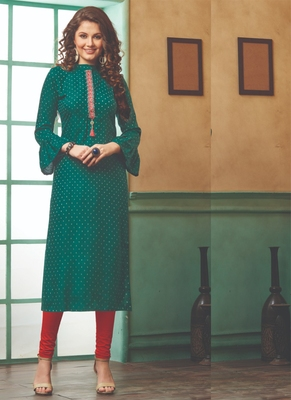 Dark Green Rayon Embroidered Long Kurtis