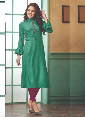 Dark Turquoise Rayon Embroidered Long Kurtis