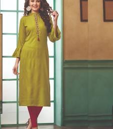 Olive Rayon Embroidered Long Kurtis