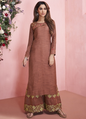 Brown Rayon Embroidered Kurtas And Kurtis
