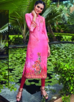 Pink Rayon Embroidered Long Kurtis