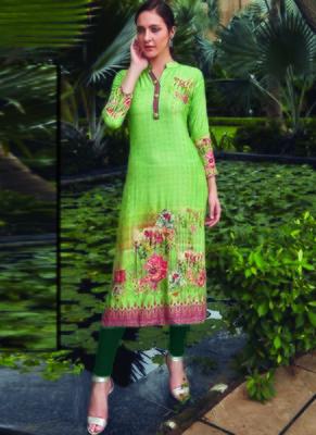 Light Green Rayon Embroidered Long Kurtis