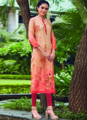Peach Rayon Embroidered Long Kurtis