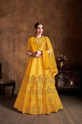 Exotic Yellow Zari Embroidered Art Silk Designer Lehenga For Wedding