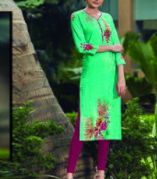 Turquoise Rayon Embroidered Long Kurtis