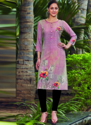 Light Pink Rayon Embroidered Long Kurtis