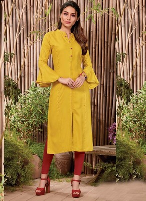 Yellow Rayon Hand Woven Long Kurtis