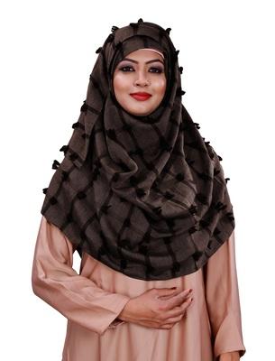 Brown Color Pom Pom Viscose Cotton Arabian Scarf Hijab For Women